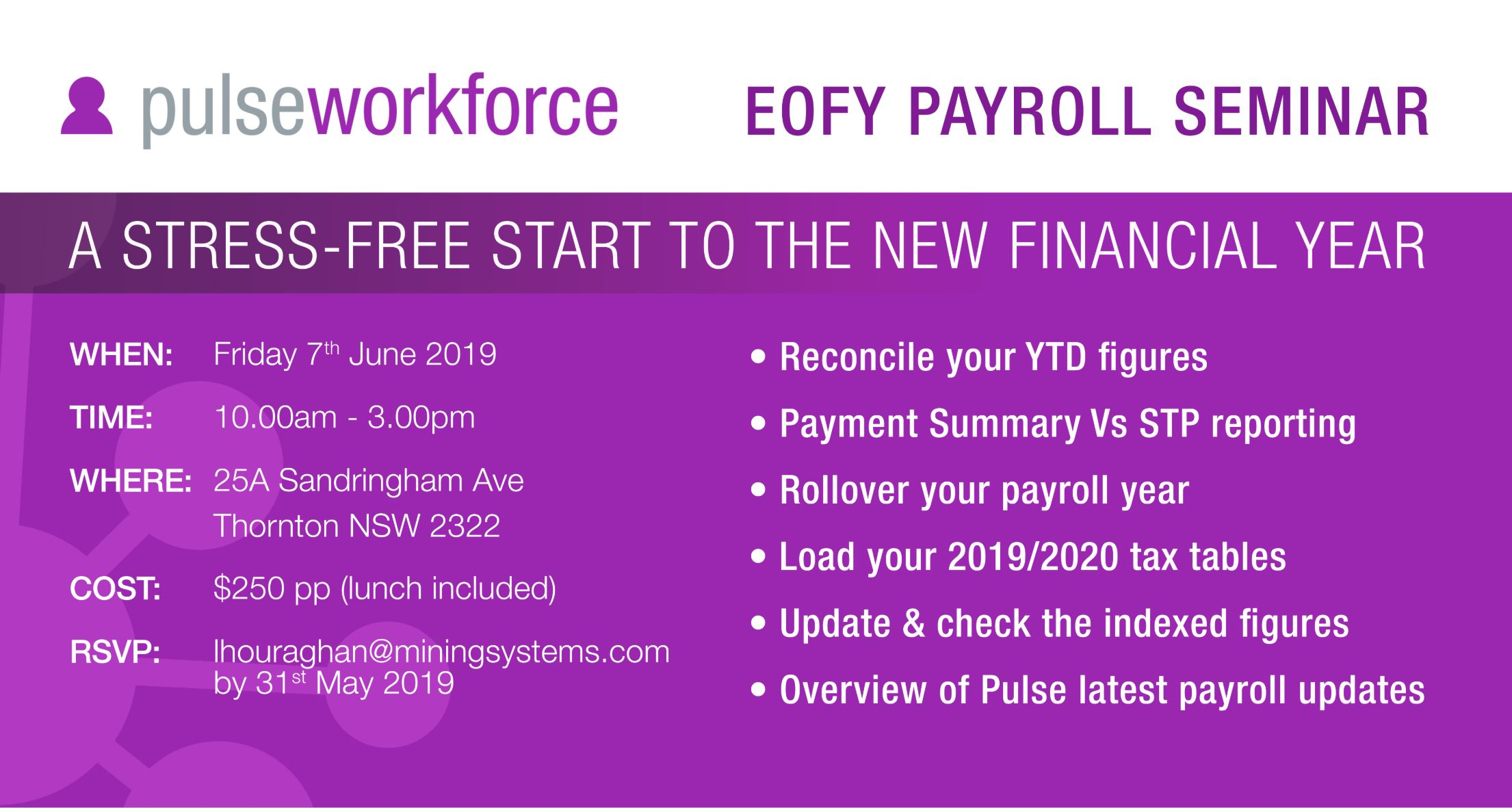 Pulse EOFY 2019 Payroll Seminar Invitation